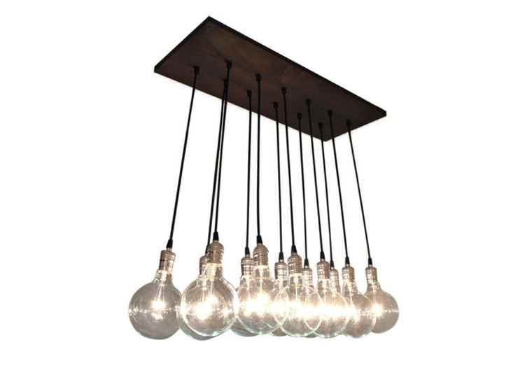 Rustic Modern Kitchen Island Chandelier - Exposed Bulb Lighting