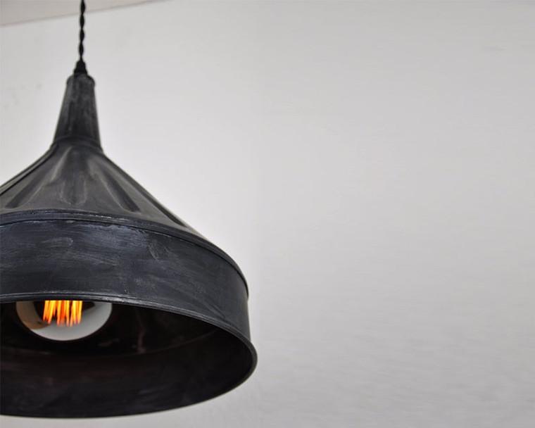 Industrial Farmhouse Funnel Pendant Light - Weathered Black or Zinc