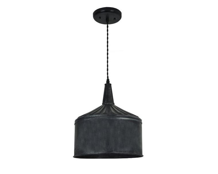 XL Industrial Farmhouse Funnel Pendant Light - Weathered Black or Zinc