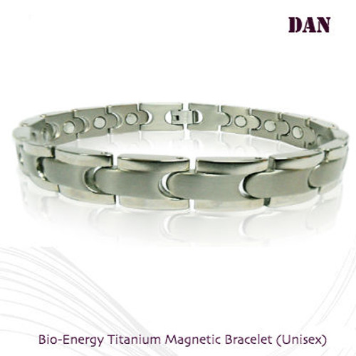 DNA: Bio-Energy Titanium Magnetic Bracelets 2-Tone Silver Polish Finish