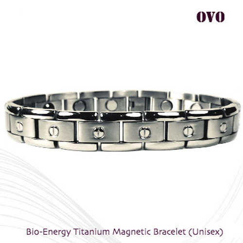 OVO: Bio-Energy Titanium Combi Bracelet in 2 Tone Silver Polish Finish