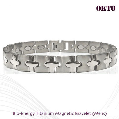 OKTO: Bio-Energy Titanium Bracelet 2 Tone Silver  Matt Finish with Round Polish Finish Links