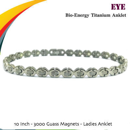 EYE: Bio-Energy Titanium COMBI Anklet (ladies) 2-Tone Silver Polish Finish
