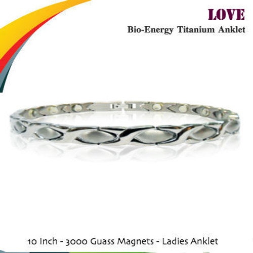 2-Tone Silver Polish Titanium Magnetic Anklet (Ladies)