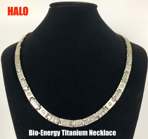 HALO - Silver Polish Titanium 20 Inch Necklace Magnets & Germanium
