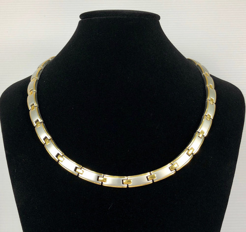 BLAZE - 2 Tone Silver Polish with Gold Lining Titanium 20 Inch Necklace Magnets & Germanium