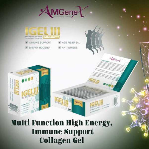 IGEL111 - IMMUNITY is a concentrated blend of high- quality type 1 Marine Collagen with Yeast Beta Glucan, Siberian Ginseng (also known as Eleuthero) and Pomegranate Concentrate. This unique and powerful formula packed using the best quality natural and clinically tested high-quality ingredients has properties like high energy boosts, immune support, age reversal and anti-stress in addition to giving you the daily nutritional need.  1 Box contains: 15 x 20 ml Liquid Gel Sachets