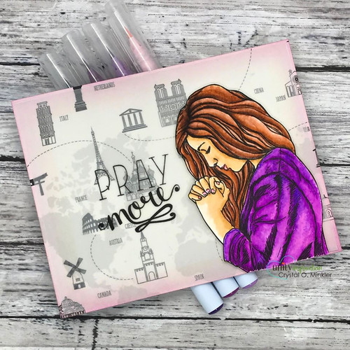 Pray More {digital stamp}