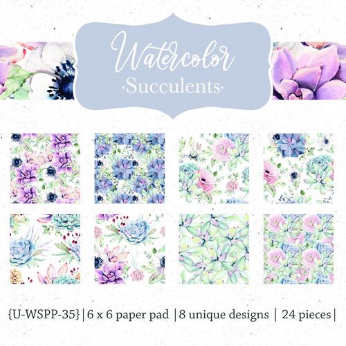 Watercolor Succulents {Paper Pack}