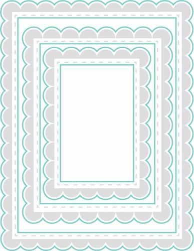 Rectangle Scalloped {border stamps} - Digital Cut File