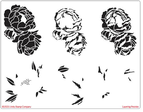 Layering Peony Stencil