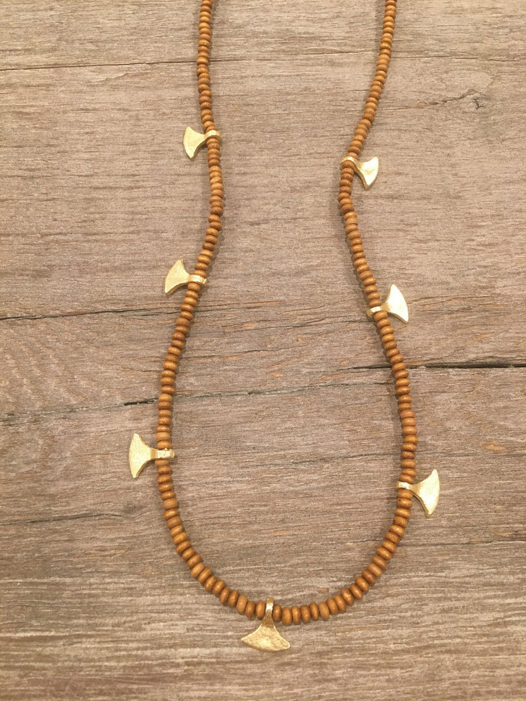 Necklace - Wood Beads With Dagger Charms