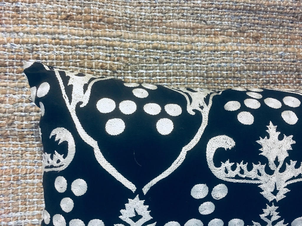 Pillow- Black and White Embroidered