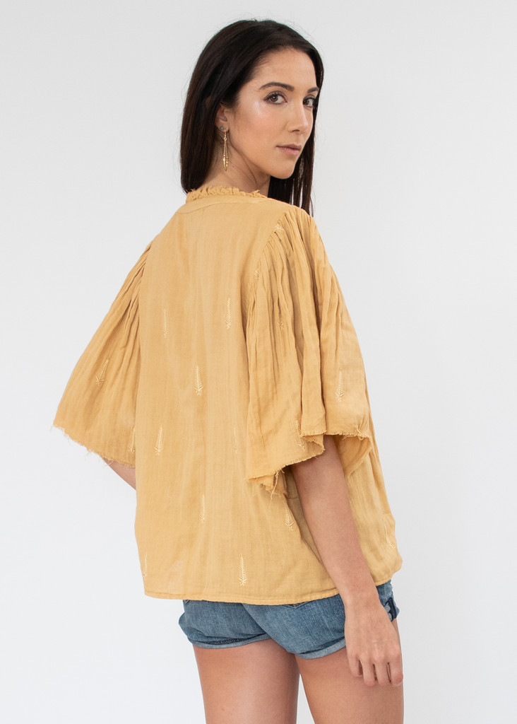 Messina Top - Flax Embroidered