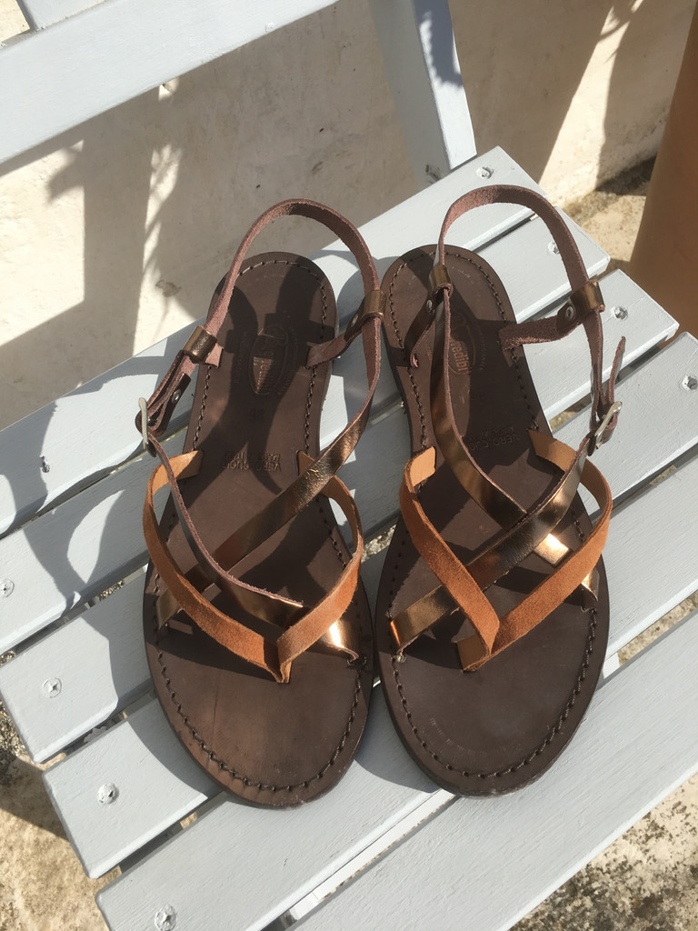 Nertila Sandal - Brown Suede and Copper Leather