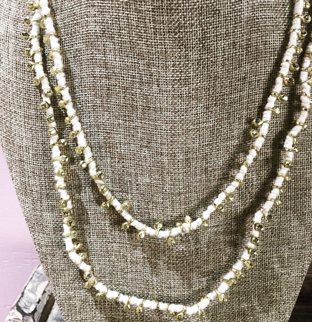 Necklace - White Brass and Thread