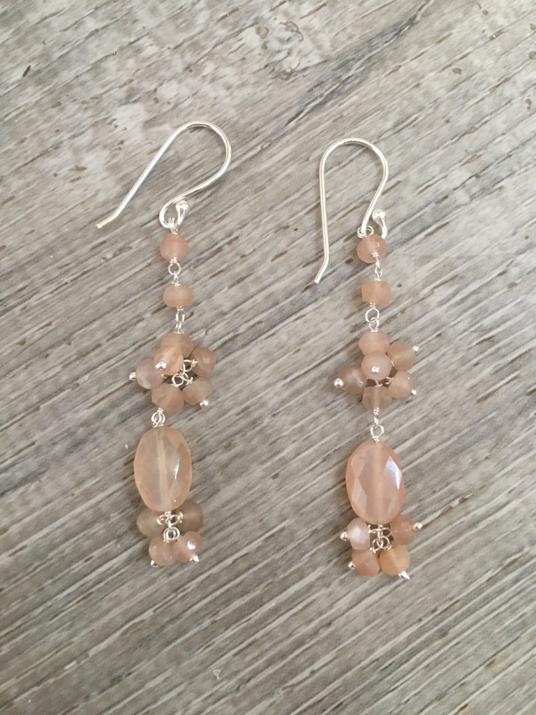 Earrings - Pink Moonstone Hanging
