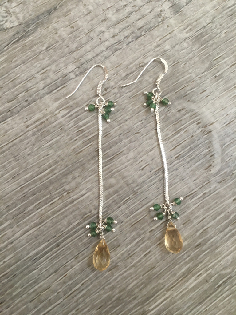 Earrings - Citrine and Green Amethyst Chain Drop
