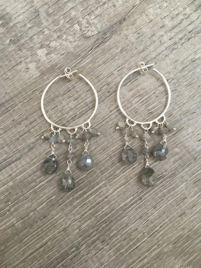 Earrings - Labradorite Hoops