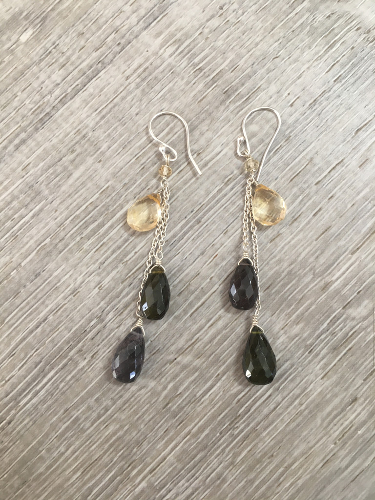Earrings - Citrine and Black Obsidian