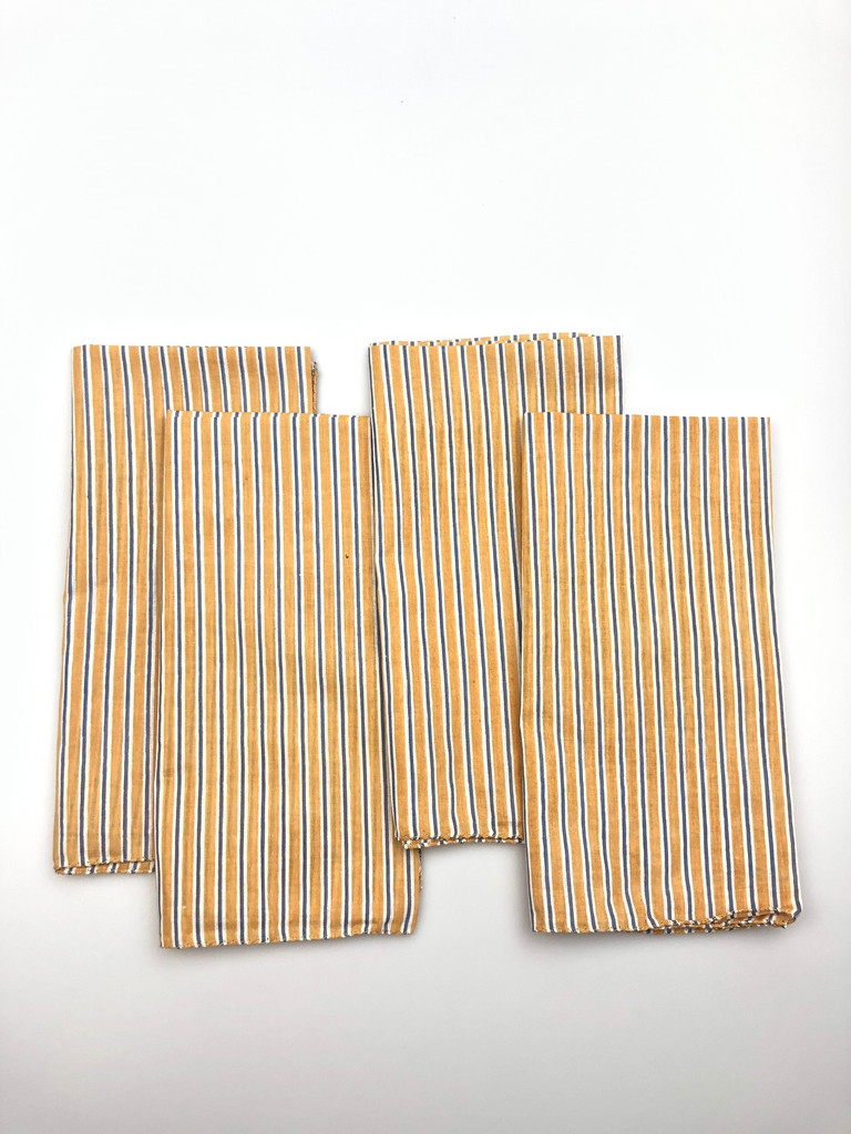 Napkins - Gold and Blue Stripe