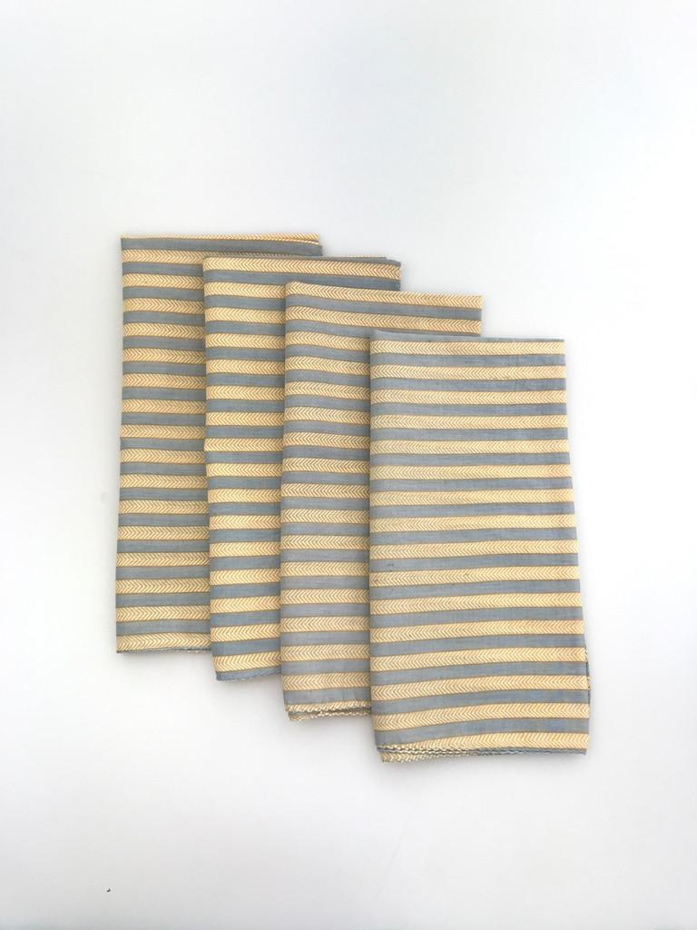 Napkins - Gold and Blue/Grey Chevron
