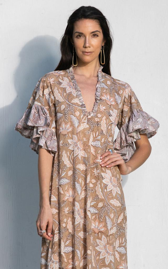 Aegina Dress - Beige and Lavender