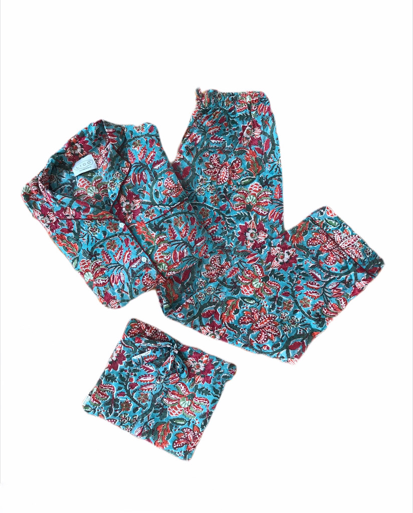 Pajamas - Red Floral on Blue