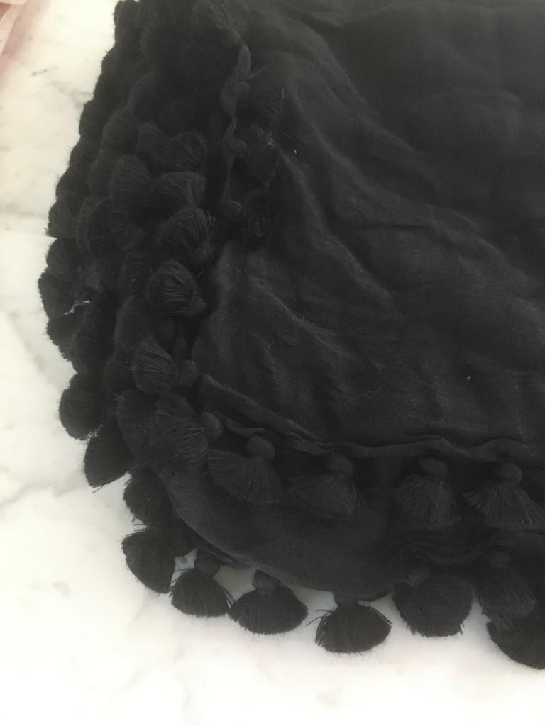 Pom Pom Shawl - Black