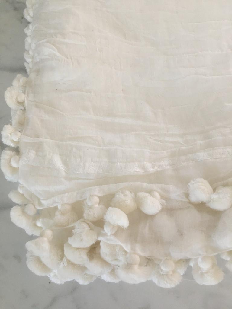 Pom Pom Shawl - White
