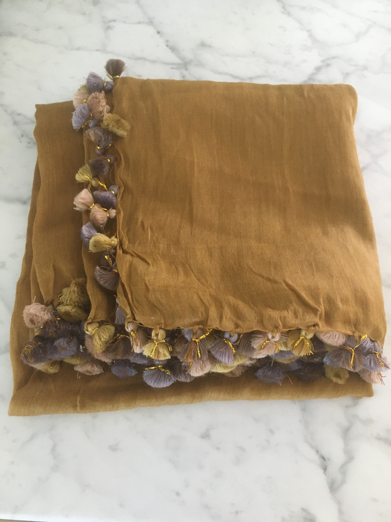 Pom Pom Shawls - Caramel Multi