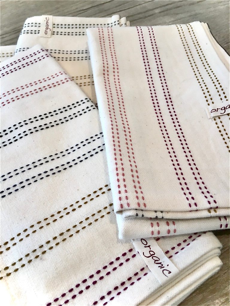 Hand Towels - Multi  Ticking