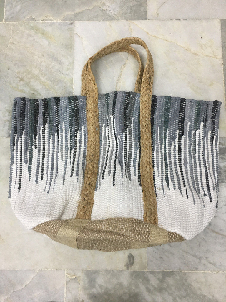 Tote - Woven Cotton Grey and White