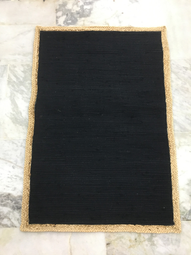 Rug - Black Cotton with Jute border