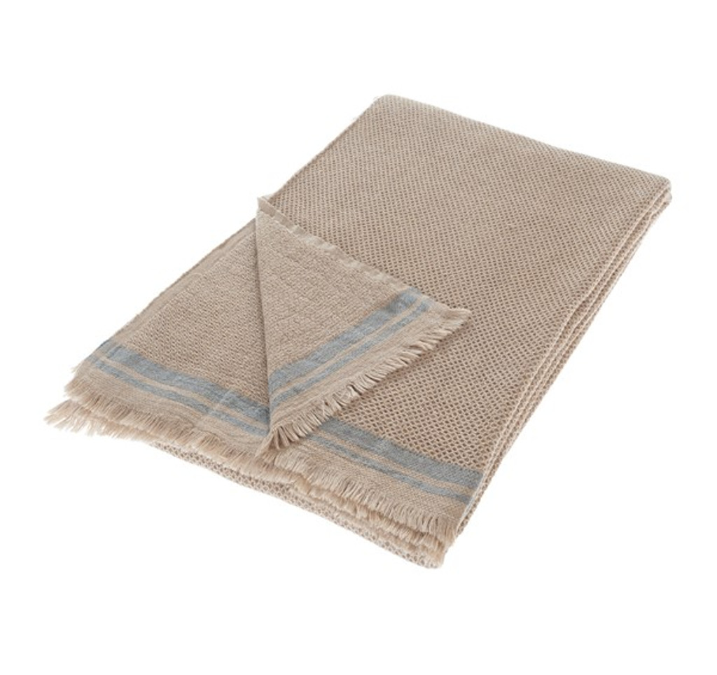 Bed Cover - Patera Natural with Blue Stripes
