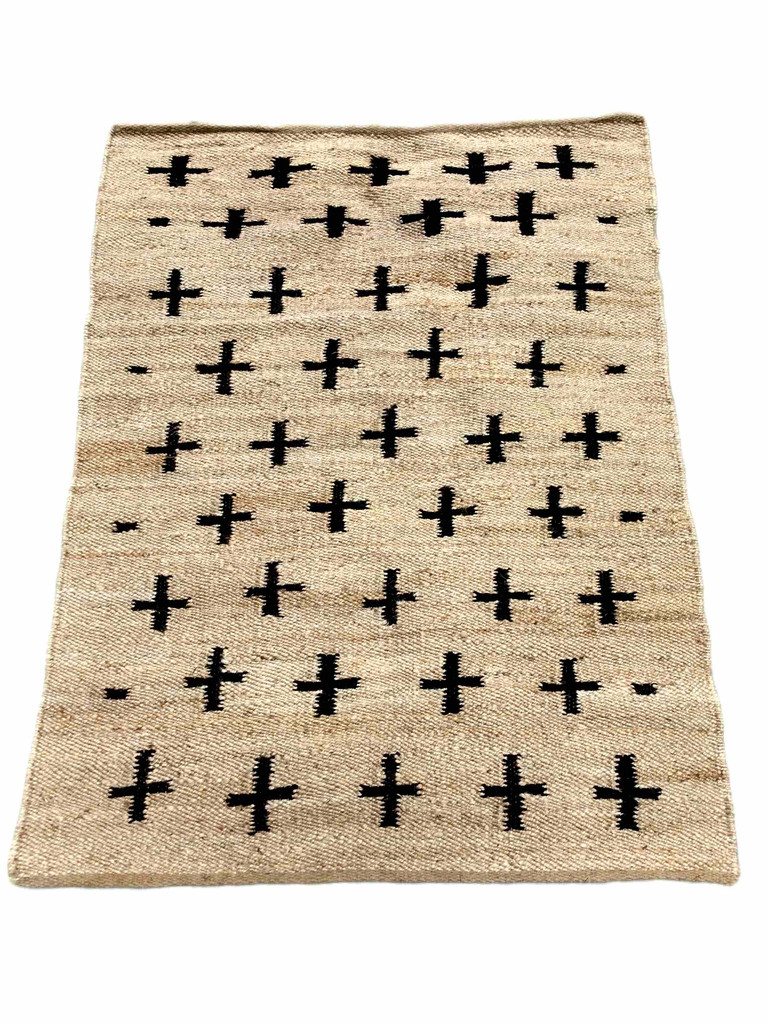 Rug - Jute Black Crosses