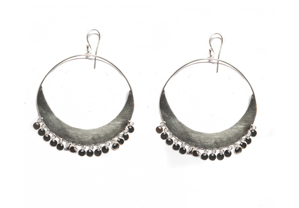 Crescent Earrings - Silver Discs