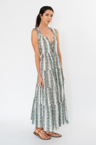 6M Dress - Green and Blue Stripe