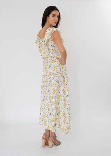 Deia Dress - Mustard Flowers