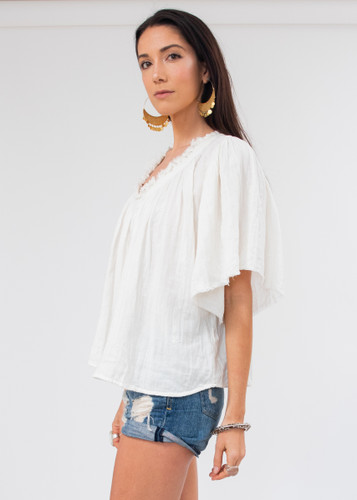 Messina Top - White Embroidered