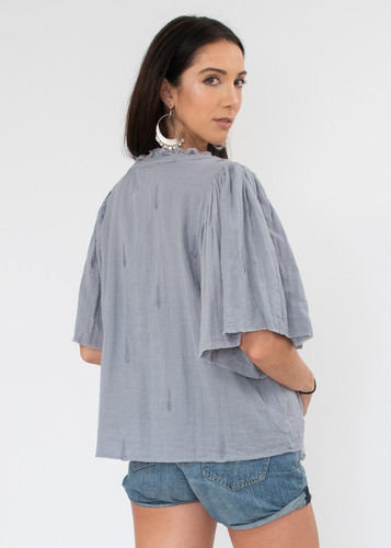 Messina Top - Periwinkle Embroidered