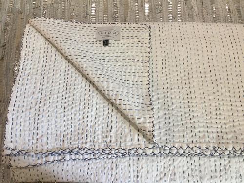 Kantha - White with Blue Stitching
