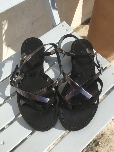 Nertila Sandal - Black and Gunmetal Leather
