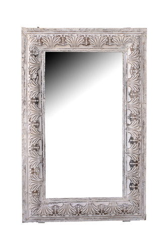 White Clamshell Tin Mirror