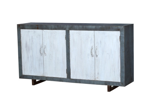 Hammered Tin and Wood Cabinet