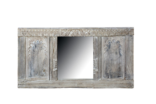 Mirror with Bleached Wood Panels