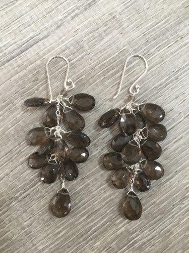 Earrings - Smoky Quartz Clusters