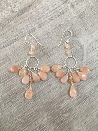 Earrings - Pink Moonstone