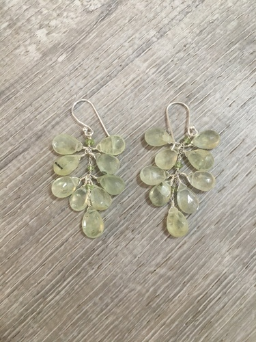 Earrings - Prehnite Cluster