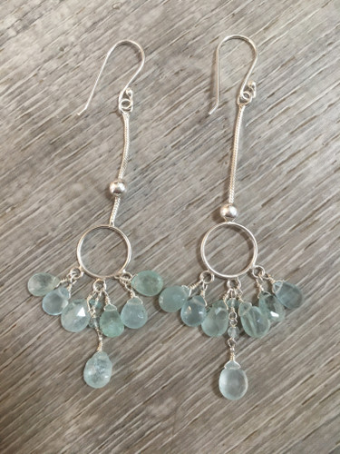 Earrings - Aquamarine Chain Drop